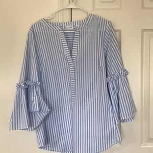 Bell Sleeves White and Blue Stripped shirt
